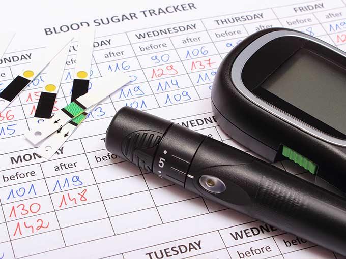 Utensilien zur Blutzuckermessung liegen auf einer Wochenübersicht - die regelmäßige Kontrolle der Werte spielt bei jeder Art der Diabetestherapie eine zentrale Rolle.